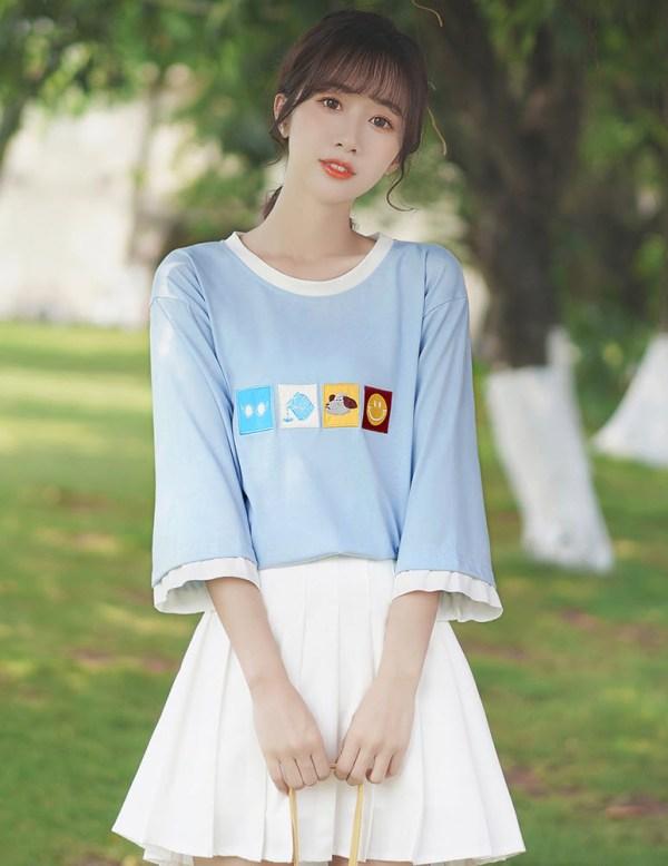 Framed Icons Long Sleeves Blue T-Shirt