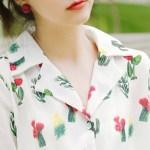 Green Cacti Print Shirt