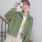 Green Short Jacket With Orange Stitching