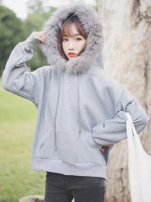 Grey Furry Hood Hoodie (9)