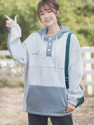 Greyish Blue Three Buttons Hoodie (9)