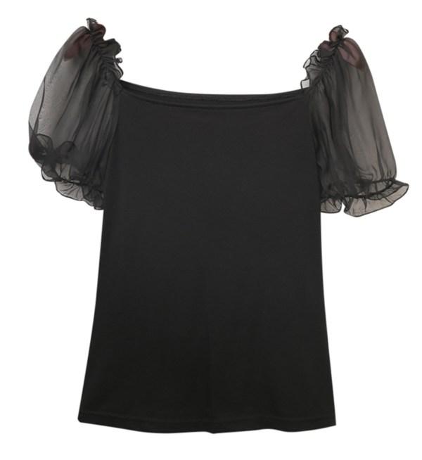 Meshed Puff Sleeves Raven Black Crop Top | Hyuna