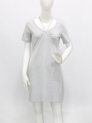 Hyuna Pebble Grey Scoop Neckline Dress 00009