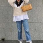 Ruffled Collar Beige Sweater | Hyuna