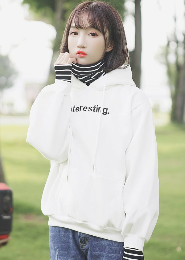Interesting Print White Hoodie