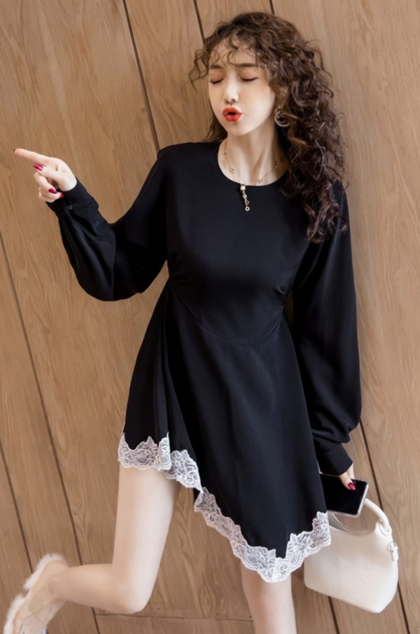 Midnight Black Asymetrical Laced Dress | Jennie – Blackpink
