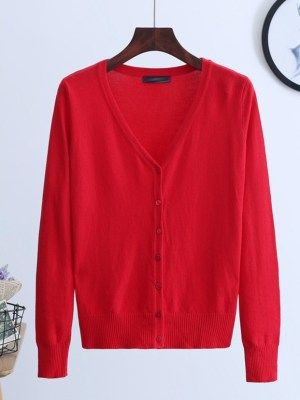 Jeno NCT – Red Knitted V-Neck cardigan (6)