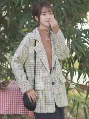 Lattice Suit Collar Yellowish Jacket (8)