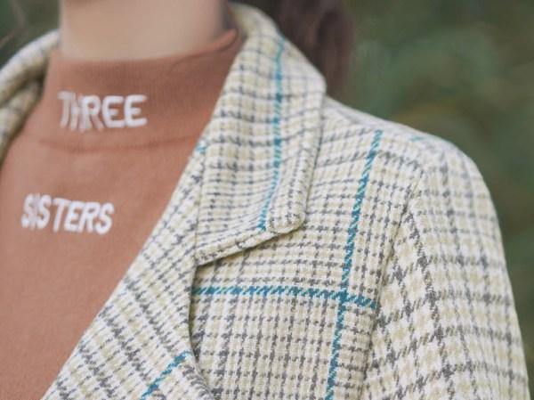 Lattice Suit Collar Yellowish Jacket