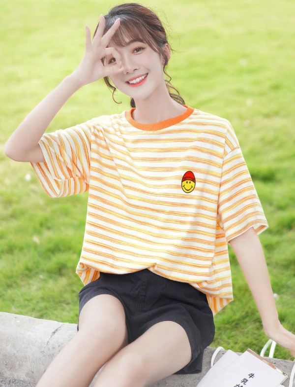 Little Smiley On Orange Striped T-Shirt
