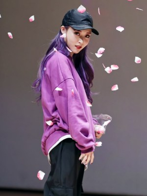 Purple Loose Round Neck Sweater With Fake Inner Shirt | Moonbyul – Mamamoo