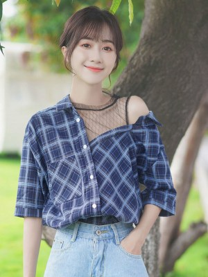 One Side Mesh Off Shoulder Plaid Shirt