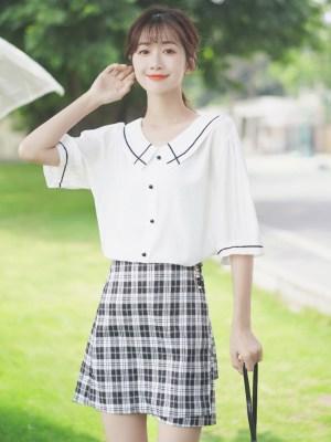 Outlined Flat Collar Cute Shirt (6)