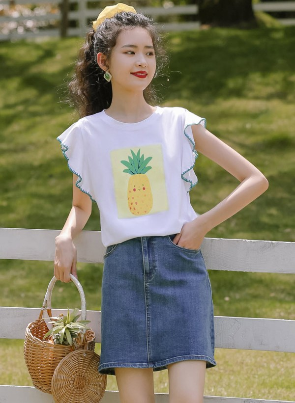 Pineapple Print Ruffled Sleeves T-Shirt