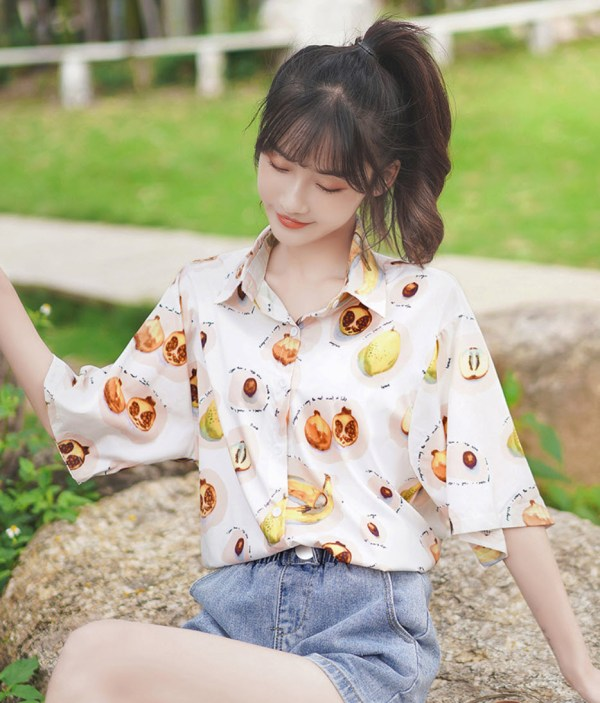 Pomegranate And Fig Pattern Shirt