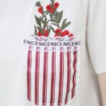 Red Flowers Pocket-like Print T-Shirt