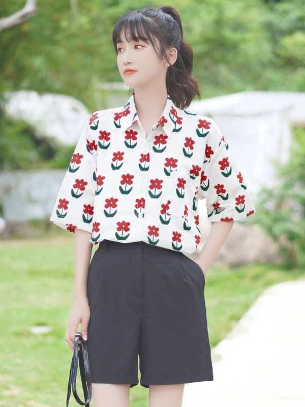 Red Flowers Print Shirt