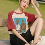 Red Sleeved Couple Portrait Print T-Shirt