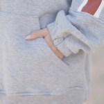 Red Striped Sleeves Grey Zip Up Jacket