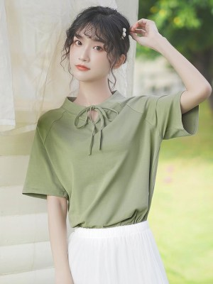 Ribbon Lace Neckline Green T-Shirt