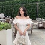 White Lotus Leaf Off Shoulder Dress | Rose – Blackpink