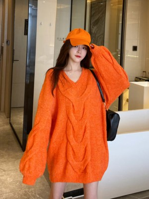 Rose Oversized Cable Fire Orange Sweater (5)