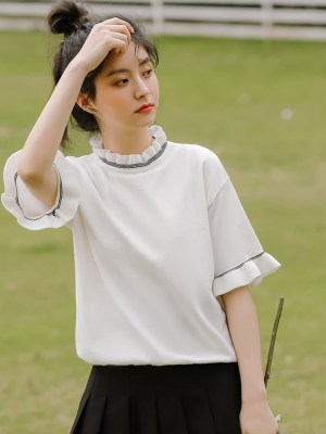 Ruffled Neckline And Sleeves White T-Shirt