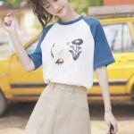 Blue Sleeves Childish Drawings T-Shirt