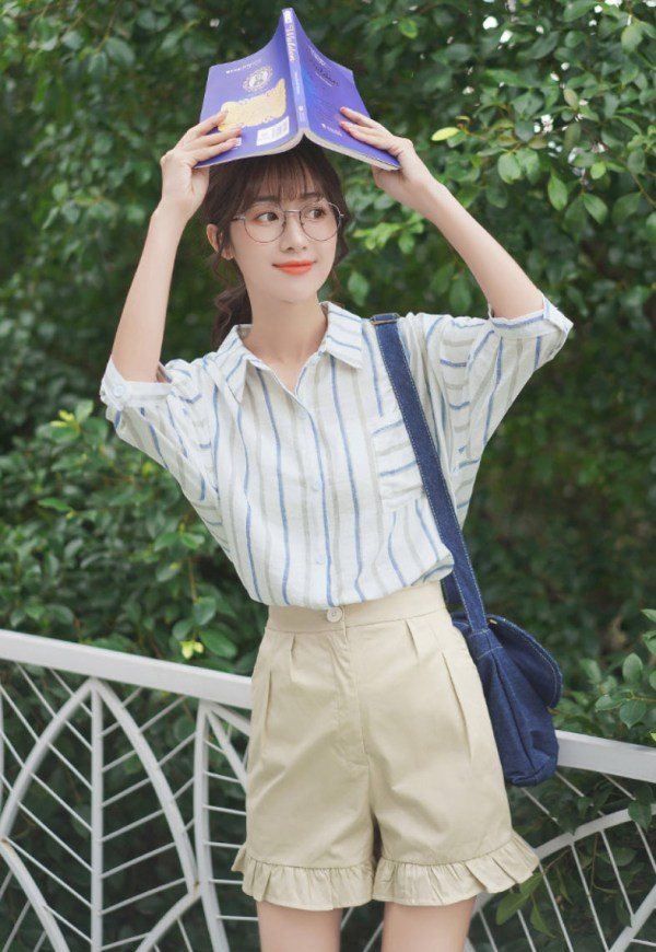 Vertical Blue Grey Striped Shirt