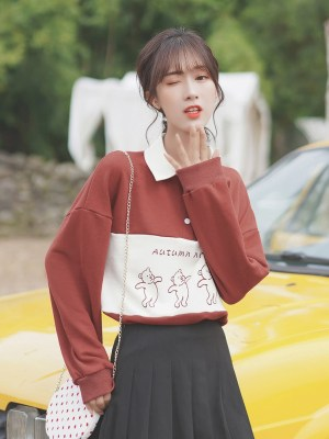 Autumn Note Red Sweatshirt (5)