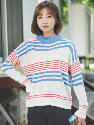 Blue And Red Striped Round Neck Sweater (8)