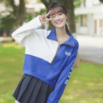 Blue And White Half Zip-Up Sweater