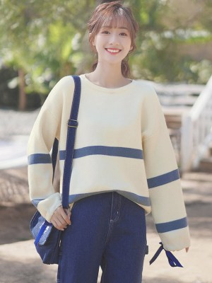 Blue Striped Apricot Sweater With Ribbon Sleeves (6)