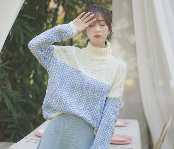 Blue Zigzag Embroidered Turtleneck Sweater