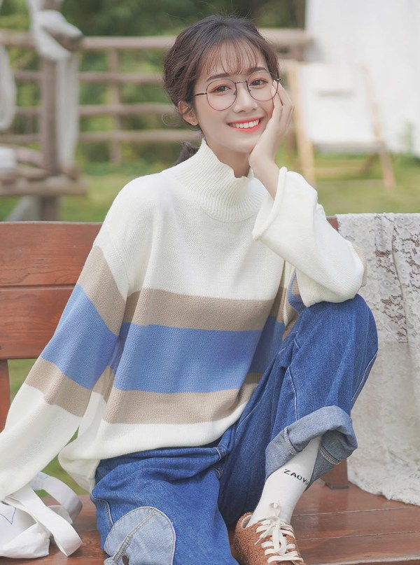 Brown And Blue Striped Cream Sweater