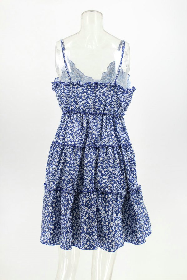 Blue Floral Mini Dress | Chaeyoung- Twice