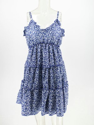 Chaeyoung- Twice Blue Floral Mini Dress (9)