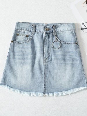 Chaeyoung- Twice Distressed Denim Skirt (5)