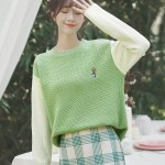 Green One Flower Embroidered Sweater