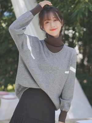 Grey Two-Piece Turtleneck Sweater (2)