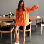 Orange Letter Printed Sweater Shirt | Haechan – NCT