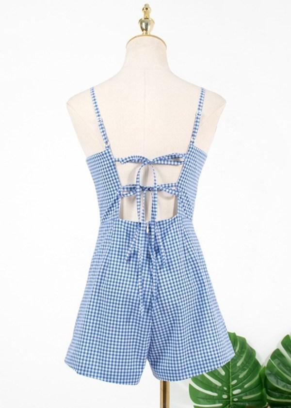 Blue Plaid Sling Jumpsuit   Hyuna