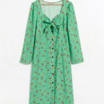 Floral Green Buttoned Dress | Hyuna