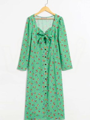 Hyuna Floral Green Buttoned Dress (3)