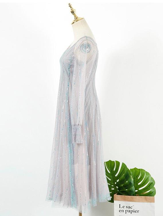 Silver Grey Mesh Dress | IU