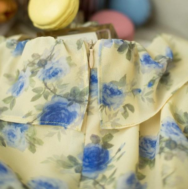 Yellow Floral Chiffon Dress | IU