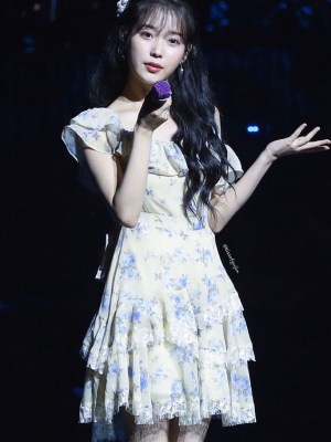 Yellow Floral Chiffon Dress | IU