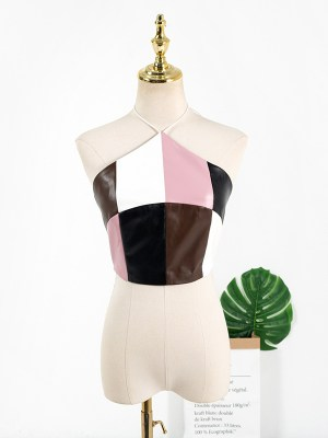 Jennie – Blackpink Multicolored Short Halter Sling Top (10)