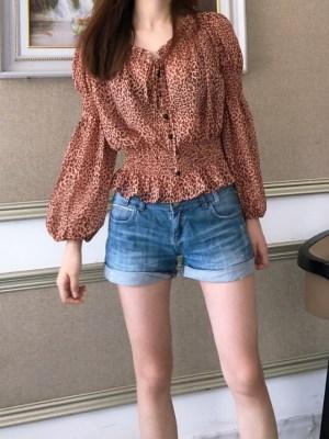 Jennie Leopard Print Ruffled Chiffon Shirt (6)