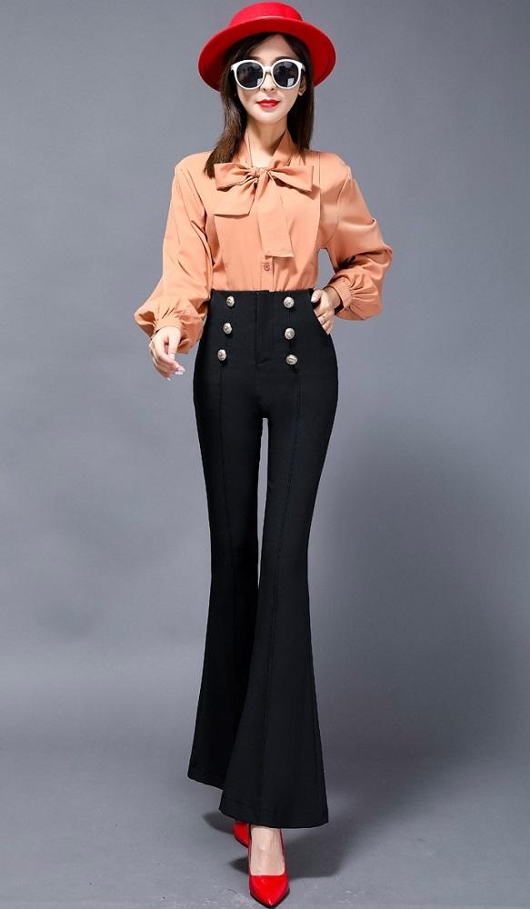 Black Buttoned Flared Pants | Jeongyeon – Twice